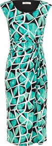 Tropical Abstract Jersey Dress - style: shift; length: below the knee; neckline: round neck; sleeve style: sleeveless; waist detail: twist front waist detail/nipped in at waist on one side/soft pleats/draping/ruching/gathering waist detail; predominant colour: emerald green; secondary colour: black; occasions: casual, occasion; fit: body skimming; fibres: polyester/polyamide - stretch; sleeve length: sleeveless; trends: statement prints, modern geometrics; pattern type: fabric; pattern size: big &amp; busy; pattern: patterned/print; texture group: jersey - stretchy/drapey