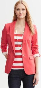 Coral Sateen One Button Blazer - pattern: plain; style: single breasted blazer; length: below the bottom; collar: standard lapel/rever collar; predominant colour: coral; occasions: casual, work; fit: tailored/fitted; fibres: cotton - stretch; back detail: back vent/flap at back; sleeve length: long sleeve; sleeve style: standard; texture group: structured shiny - satin/tafetta/silk etc.; collar break: low/open; pattern type: fabric