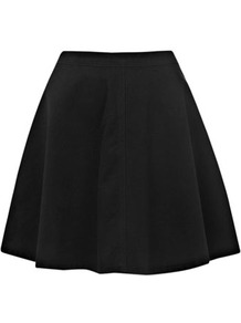 Black Skater Skirt - length: mid thigh; pattern: plain; fit: loose/voluminous; waist: high rise; predominant colour: black; occasions: casual, evening, holiday; style: a-line; fibres: cotton - 100%; hip detail: soft pleats at hip/draping at hip/flared at hip; texture group: cotton feel fabrics; pattern type: fabric