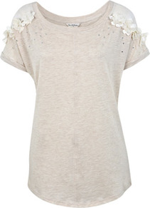 Corsage Raglan Tee - neckline: round neck; sleeve style: raglan; pattern: plain; length: below the bottom; style: t-shirt; bust detail: ruching/gathering/draping/layers/pintuck pleats at bust; secondary colour: ivory; predominant colour: stone; occasions: casual, evening, holiday; fibres: cotton - mix; fit: loose; shoulder detail: added shoulder detail; sleeve length: short sleeve; pattern type: fabric; pattern size: big &amp; light; texture group: jersey - stretchy/drapey; embellishment: corsage