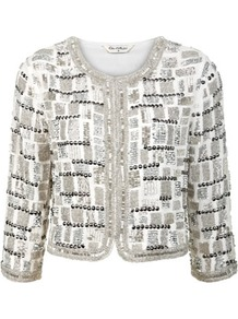Silver Embellished Jacket - collar: round collar/collarless; length: cropped; style: boxy; secondary colour: white; predominant colour: silver; occasions: evening, occasion; fit: straight cut (boxy); fibres: polyester/polyamide - 100%; sleeve length: 3/4 length; sleeve style: standard; texture group: crepes; collar break: high; pattern type: fabric; pattern size: standard; pattern: patterned/print; embellishment: beading