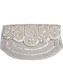 Embellished Scallop Trim Bag - predominant colour: silver; occasions: evening, occasion; type of pattern: light; style: clutch; length: hand carry; size: small; material: fabric; embellishment: beading; finish: plain; pattern: patterned/print