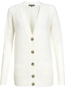 Moss Stitch Cardigan - neckline: low v-neck; pattern: plain; predominant colour: ivory; occasions: casual, work; length: standard; style: standard; fibres: linen - mix; fit: standard fit; sleeve length: long sleeve; sleeve style: standard; texture group: knits/crochet; pattern type: knitted - other