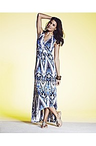 Drop Back Hem Print Maxi Dress - neckline: low v-neck; sleeve style: sleeveless; style: maxi dress; secondary colour: ivory; predominant colour: diva blue; occasions: casual, holiday; length: floor length; fit: body skimming; fibres: viscose/rayon - 100%; back detail: longer hem at back than at front; sleeve length: sleeveless; trends: statement prints; pattern type: fabric; pattern size: big &amp; busy; pattern: patterned/print; texture group: jersey - stretchy/drapey