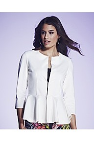 Peplum Jacket - pattern: plain; style: single breasted blazer; collar: round collar/collarless; predominant colour: white; occasions: casual, occasion; length: standard; fit: tailored/fitted; fibres: polyester/polyamide - mix; waist detail: peplum detail at waist; sleeve length: 3/4 length; sleeve style: standard; collar break: high; pattern type: fabric; texture group: other - light to midweight
