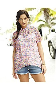 Floral Shirt - neckline: shirt collar/peter pan/zip with opening; style: shirt; occasions: casual, holiday; length: standard; fibres: polyester/polyamide - 100%; fit: loose; back detail: longer hem at back than at front; predominant colour: multicoloured; sleeve length: short sleeve; sleeve style: standard; texture group: sheer fabrics/chiffon/organza etc.; pattern type: fabric; pattern size: small &amp; busy; pattern: florals