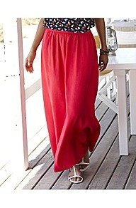 Full Length Pull On Maxi Skirt - pattern: plain; fit: loose/voluminous; waist: high rise; waist detail: twist front waist detail/nipped in at waist on one side/soft pleats/draping/ruching/gathering waist detail; predominant colour: true red; occasions: casual, evening, holiday; length: floor length; style: maxi skirt; fibres: viscose/rayon - 100%; pattern type: fabric; texture group: jersey - stretchy/drapey