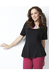 Peplum Jersey Top Longer Length - pattern: plain; waist detail: peplum waist detail; predominant colour: black; occasions: casual, evening, work; length: standard; style: top; neckline: scoop; fibres: cotton - mix; fit: tailored/fitted; sleeve length: short sleeve; sleeve style: standard; pattern type: fabric; texture group: jersey - stretchy/drapey