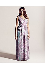 Project D London Queens Print Maxi Dress - neckline: low v-neck; fit: empire; sleeve style: sleeveless; style: maxi dress; predominant colour: lilac; occasions: casual, evening, occasion, holiday; length: floor length; fibres: polyester/polyamide - 100%; hip detail: soft pleats at hip/draping at hip/flared at hip; sleeve length: sleeveless; texture group: sheer fabrics/chiffon/organza etc.; pattern type: fabric; pattern size: small & busy; pattern: florals
