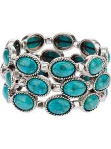 'Pawnee' Turquoise Cuff - predominant colour: turquoise; secondary colour: silver; occasions: evening, occasion, holiday; style: cuff; size: standard; material: chain/metal; finish: plain; embellishment: beading