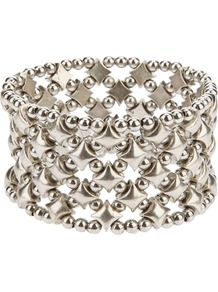 'Alberta' Cuff - predominant colour: silver; occasions: evening, work, occasion, holiday; style: bangle; size: large/oversized; material: chain/metal; trends: metallics; finish: metallic; embellishment: chain/metal