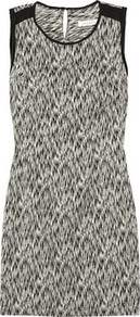 Reve Printed Stretch Cotton Blend Dress - style: shift; length: mini; neckline: round neck; sleeve style: sleeveless; back detail: low cut/open back; shoulder detail: contrast pattern/fabric at shoulder; predominant colour: mid grey; secondary colour: black; occasions: casual, evening, holiday; fit: body skimming; fibres: cotton - mix; sleeve length: sleeveless; trends: glamorous day shifts; pattern type: fabric; pattern size: small &amp; busy; pattern: patterned/print; texture group: jersey - stretchy/drapey