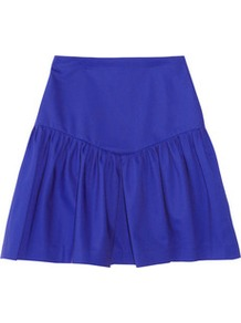 Journaliste Ruffled Cotton Blend Mini Skirt - length: mid thigh; pattern: plain; fit: body skimming; waist detail: wide waistband/cummerbund; waist: mid/regular rise; predominant colour: royal blue; occasions: casual, holiday; style: mini skirt; fibres: cotton - stretch; hip detail: ruffles/tiers/tie detail at hip; pattern type: fabric; texture group: jersey - stretchy/drapey