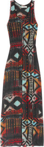 Rebelle Printed Crepe Maxi Dress - neckline: round neck; sleeve style: sleeveless; style: maxi dress; secondary colour: true red; predominant colour: black; occasions: casual, evening, holiday; length: floor length; fit: body skimming; fibres: polyester/polyamide - mix; sleeve length: sleeveless; trends: statement prints; pattern type: fabric; pattern size: big & busy; pattern: patterned/print; texture group: jersey - stretchy/drapey