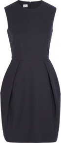 Cotton Crepe Mini Dress - style: shift; length: mid thigh; pattern: plain; sleeve style: sleeveless; predominant colour: navy; occasions: evening, work; fit: fitted at waist & bust; fibres: cotton - 100%; neckline: crew; hip detail: structured pleats at hip; sleeve length: sleeveless; texture group: crepes; trends: volume; pattern type: fabric