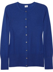 Cashmere Cardigan - neckline: round neck; pattern: plain; predominant colour: royal blue; occasions: casual, work; length: standard; style: standard; fit: standard fit; fibres: cashmere - 100%; sleeve length: long sleeve; sleeve style: standard; texture group: knits/crochet; pattern type: knitted - fine stitch