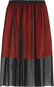 Juste Double Layered Tulle Skirt - length: below the knee; pattern: plain; fit: loose/voluminous; waist detail: twist front waist detail/nipped in at waist on one side/soft pleats/draping/ruching/gathering waist detail; waist: mid/regular rise; predominant colour: true red; secondary colour: black; occasions: evening; style: a-line; fibres: polyester/polyamide - 100%; hip detail: soft pleats at hip/draping at hip/flared at hip; pattern type: fabric; texture group: net/tulle