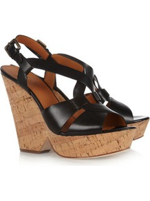 Fernando Leather Cutout Wedge Sandals - predominant colour: black; occasions: casual, evening, holiday; material: leather; ankle detail: ankle strap; heel: wedge; toe: open toe/peeptoe; style: strappy; finish: plain; pattern: plain; heel height: very high