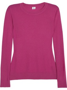 Fine Knit Cashmere Sweater - neckline: round neck; pattern: plain; style: standard; predominant colour: hot pink; occasions: casual, work; length: standard; fit: standard fit; fibres: cashmere - 100%; sleeve length: long sleeve; sleeve style: standard; texture group: knits/crochet; pattern type: knitted - fine stitch