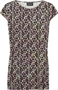 Lola Printed Silk Jersey Top - neckline: round neck; sleeve style: capped; length: below the bottom; occasions: casual, holiday; style: top; fibres: silk - 100%; fit: loose; predominant colour: multicoloured; sleeve length: short sleeve; pattern type: fabric; pattern size: small &amp; busy; pattern: patterned/print; texture group: jersey - stretchy/drapey