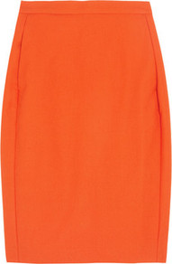 Cotton Crepe Pencil Skirt - pattern: plain; style: pencil; fit: tailored/fitted; waist: high rise; predominant colour: bright orange; occasions: evening; length: just above the knee; fibres: cotton - 100%; texture group: crepes; pattern type: fabric