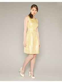 Canary Spot Jacquard Dress - style: shift; neckline: high square neck; fit: tailored/fitted; sleeve style: sleeveless; waist detail: wide waistband/cummerbund; secondary colour: yellow; predominant colour: primrose yellow; occasions: evening, occasion; length: just above the knee; fibres: polyester/polyamide - mix; sleeve length: sleeveless; trends: glamorous day shifts, metallics; pattern type: fabric; pattern size: small &amp; busy; pattern: patterned/print; texture group: brocade/jacquard; embellishment: embroidered