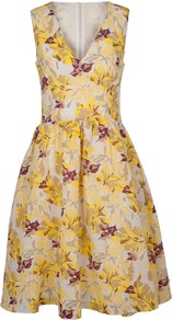 Casablanca Vine Dress - neckline: low v-neck; sleeve style: sleeveless; secondary colour: purple; predominant colour: yellow; occasions: evening, occasion; length: just above the knee; fit: fitted at waist &amp; bust; style: fit &amp; flare; fibres: linen - mix; sleeve length: sleeveless; texture group: linen; trends: high impact florals, volume; pattern type: fabric; pattern size: big &amp; busy; pattern: florals