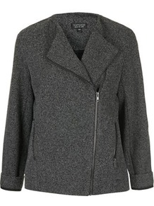 Ponte Biker Jacket - style: biker; collar: asymmetric biker; pattern: herringbone/tweed; secondary colour: white; predominant colour: black; occasions: casual; length: standard; fit: straight cut (boxy); fibres: polyester/polyamide - mix; sleeve length: 3/4 length; sleeve style: standard; collar break: high/illusion of break when open; pattern type: fabric; pattern size: standard; texture group: jersey - stretchy/drapey