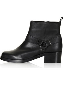Alliance Harness Boots - predominant colour: black; occasions: casual, evening, work; material: leather; heel height: mid; embellishment: studs; heel: block; toe: round toe; boot length: ankle boot; style: standard; finish: plain; pattern: plain