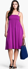 + Dress - sleeve style: spaghetti straps; fit: empire; pattern: plain; style: sundress; predominant colour: purple; length: on the knee; fibres: viscose/rayon - 100%; hip detail: soft pleats at hip/draping at hip/flared at hip; sleeve length: sleeveless; occasions: holiday; neckline: low square neck; pattern type: fabric; texture group: jersey - stretchy/drapey