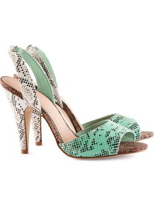 Slingbacks - secondary colour: white; predominant colour: mint green; occasions: evening, work, occasion, holiday; material: faux leather; heel height: high; heel: stiletto; toe: open toe/peeptoe; style: slingbacks; trends: statement prints; finish: plain; pattern: animal print