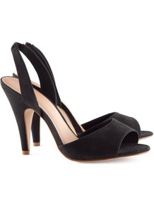 Slingbacks - predominant colour: black; occasions: evening, work, occasion; material: fabric; heel height: high; heel: stiletto; toe: open toe/peeptoe; style: slingbacks; finish: plain; pattern: plain