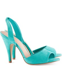 Slingbacks - predominant colour: turquoise; occasions: evening, work, occasion, holiday; material: fabric; heel height: high; heel: stiletto; toe: open toe/peeptoe; style: slingbacks; finish: plain; pattern: plain