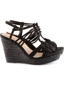 Sandals - predominant colour: black; occasions: casual, evening, work, occasion, holiday; material: fabric; heel height: high; ankle detail: ankle strap; heel: wedge; toe: open toe/peeptoe; style: strappy; finish: plain; pattern: plain