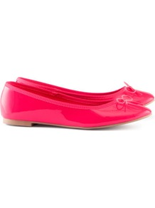 Ballet Pumps - predominant colour: hot pink; occasions: casual, evening, work, holiday; material: faux leather; heel height: flat; toe: round toe; style: ballerinas / pumps; trends: fluorescent; finish: patent; pattern: plain; embellishment: bow
