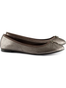 Ballet Pumps - predominant colour: charcoal; occasions: casual, evening, work, holiday; material: faux leather; heel height: flat; toe: round toe; style: ballerinas / pumps; trends: metallics; finish: metallic; pattern: plain; embellishment: bow