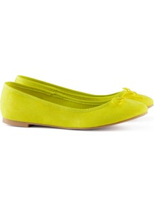 Ballet Pumps - predominant colour: lime; occasions: casual, evening, work, holiday; material: fabric; heel height: flat; toe: round toe; style: ballerinas / pumps; trends: fluorescent; finish: fluorescent; pattern: plain; embellishment: bow