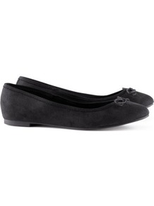 Ballet Pumps - predominant colour: black; occasions: casual, evening, work, holiday; material: fabric; heel height: flat; toe: round toe; style: ballerinas / pumps; finish: plain; pattern: plain; embellishment: bow