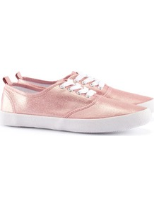 Shoes - secondary colour: white; predominant colour: blush; occasions: casual, holiday; material: fabric; heel height: flat; toe: round toe; style: trainers; trends: metallics; finish: metallic; pattern: plain
