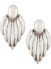 Earrings - predominant colour: silver; occasions: evening, work, occasion, holiday; style: drop; length: long; size: large/oversized; material: chain/metal; fastening: pierced; trends: metallics; finish: plain