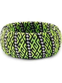 Bracelet - predominant colour: lime; secondary colour: black; occasions: casual, evening, work, occasion, holiday; style: bangle; size: large/oversized; material: fabric; trends: fluorescent; finish: fluorescent; embellishment: beading