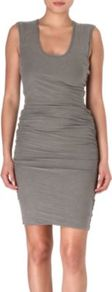Ruched Dress - sleeve style: wide vest straps; fit: tight; pattern: plain; style: bodycon; waist detail: twist front waist detail/nipped in at waist on one side/soft pleats/draping/ruching/gathering waist detail; predominant colour: mid grey; occasions: casual, evening; length: just above the knee; neckline: scoop; fibres: cotton - stretch; hip detail: ruching/gathering at hip; sleeve length: sleeveless; texture group: jersey - clingy; pattern type: fabric