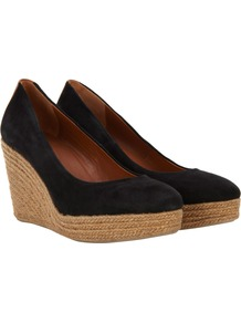 Black Suede Espadrilles - secondary colour: camel; predominant colour: black; occasions: casual, work, holiday; material: suede; heel height: high; heel: wedge; toe: round toe; style: courts; finish: plain; pattern: plain
