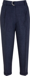 Indigo Cropped Peg Trousers - pattern: plain; style: peg leg; waist: high rise; waist detail: belted waist/tie at waist/drawstring; predominant colour: navy; occasions: casual; length: ankle length; fibres: linen - 100%; jeans &amp; bottoms detail: turn ups; texture group: linen; fit: tapered; pattern type: fabric