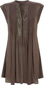 Mocha Sequin Yoke Tunic - neckline: v-neck; pattern: plain; sleeve style: sleeveless; bust detail: added detail/embellishment at bust; length: below the bottom; style: tunic; predominant colour: chocolate brown; secondary colour: gold; occasions: casual; fibres: viscose/rayon - 100%; fit: loose; sleeve length: sleeveless; pattern type: fabric; texture group: jersey - stretchy/drapey; embellishment: sequins