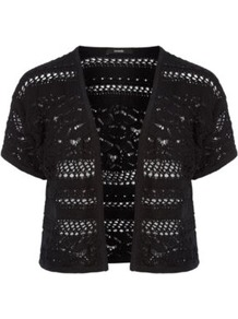 Crochet Shrug Black - style: bolero/shrug; length: cropped; neckline: collarless open; predominant colour: black; occasions: casual, work; fibres: cotton - 100%; fit: standard fit; sleeve length: short sleeve; sleeve style: standard; texture group: knits/crochet; pattern type: knitted - other; pattern size: standard; pattern: patterned/print