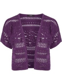 Crochet Shrug Blackcurrant - style: bolero/shrug; length: cropped; neckline: collarless open; predominant colour: aubergine; occasions: casual, evening, work, occasion, holiday; fibres: cotton - 100%; fit: standard fit; bust detail: contrast pattern/fabric/detail at bust; sleeve length: short sleeve; sleeve style: standard; texture group: knits/crochet; pattern type: knitted - other; pattern size: standard; pattern: patterned/print