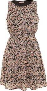 Floral Print Jessica Shirred Waist Dress - style: tea dress; length: mid thigh; fit: fitted at waist; sleeve style: sleeveless; waist detail: fitted waist; predominant colour: nude; secondary colour: black; occasions: casual; fibres: polyester/polyamide - 100%; neckline: crew; sleeve length: sleeveless; texture group: sheer fabrics/chiffon/organza etc.; pattern type: fabric; pattern size: small &amp; busy; pattern: florals