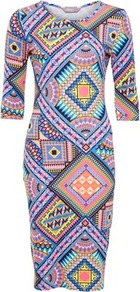 Multi Print Sophia Dress - style: shift; neckline: round neck; fit: tight; predominant colour: lilac; secondary colour: nude; occasions: casual, evening; length: just above the knee; fibres: viscose/rayon - stretch; sleeve length: 3/4 length; sleeve style: standard; texture group: jersey - clingy; pattern type: fabric; pattern size: big & busy; pattern: patterned/print