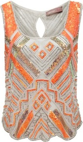 Cream Sequin Beaded Cami - sleeve style: wide vest straps; style: vest top; secondary colour: bright orange; predominant colour: light grey; occasions: evening, occasion; length: standard; neckline: scoop; fibres: polyester/polyamide - 100%; fit: straight cut; back detail: keyhole/peephole detail at back; sleeve length: sleeveless; texture group: sheer fabrics/chiffon/organza etc.; pattern type: fabric; pattern size: small &amp; busy; pattern: patterned/print; embellishment: sequins